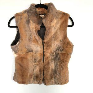Bebe Brown Rabbit Fur Zip Vest